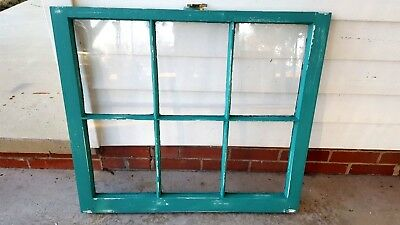 Architectural Salvage ANTIQUE WINDOW PANE FRAME RUSTIC DISTRESSED TEAL TURQUOISE