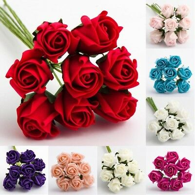 FOAM ROSES 3CM - Bunch of 8 Colourfast Artificial Wedding Flowers Bouquet Craft