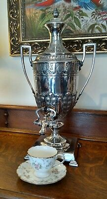 "Silver Plate Coffee / Hot Water Urn / Samovar by JAMES DEAKIN & SONS - 20.5"" H"
