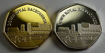 Pair of DOWN ROYAL RACECOURSE Commemoratives. 24ct Gold. Silver. Albums/Filler
