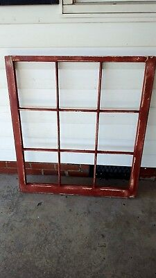 Architectural Salvage ANTIQUE WINDOW PANE FRAME RUSTIC DISTRESSED RED 9 PANE
