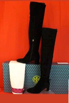 Tory Burch Laila 7M Black Suede Bow Gold Reva Zip Over The Knee Boots  $598
