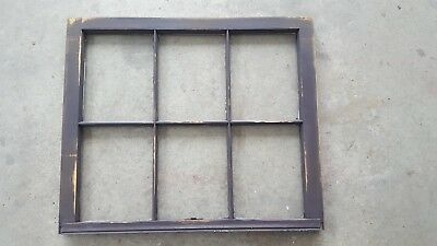 Architectural Salvage ANTIQUE WINDOW PANE FRAME RUSTIC DARK MOCHA BROWN 6 PANE