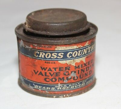 Vintage Cross Country Valve Grinding Compound Tin Can