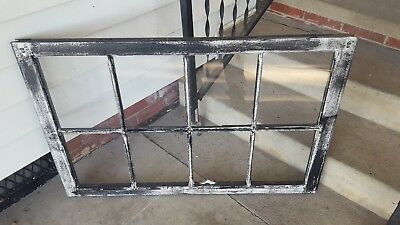 Architectural Salvage ANTIQUE WINDOW PANE FRAME RUSTIC 8 PANE BLACK DISTRESSED
