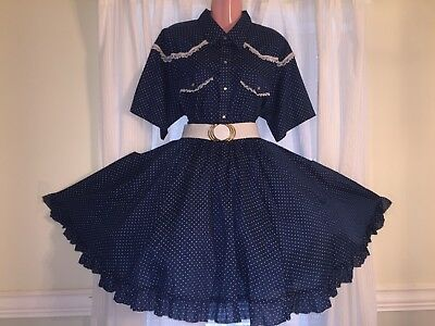 Square Dance Ladies Navy Blue & White Polka Dot Top & Skirt- XL