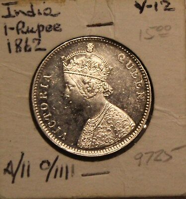 1862 India One 1 Rupee Queen Victoria Coin Obverse Type C ? Four Dots
