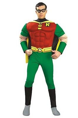 Brand New Teen Titans Deluxe Muscle Chest Robin Adult Halloween Costume