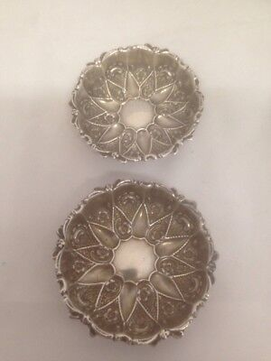 Pair Sterling Silver Chester Pip Dishes