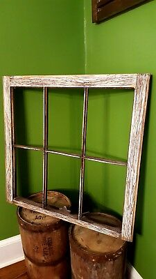 Antique Window Pane Frame Rustic 6 Pane Driftwood Style, One Of A Kind 32X27