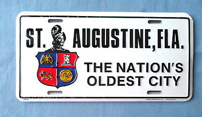 St. Augustine, Fla.-The Nation's Oldest City- Embossed Metal License Plate-New