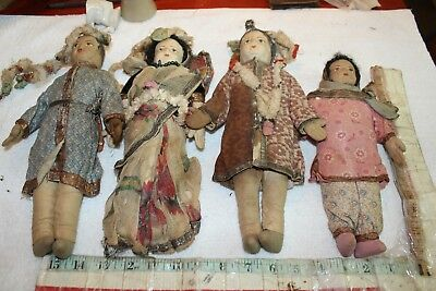 antique dolls gold metal trim cloth india indian wedding lot victorian 19c sari