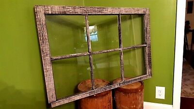 ANTIQUE WINDOW PANE FRAME RUSTIC 6 PANE DRIFTWOOD STYLE, ONE OF A KIND 38x25