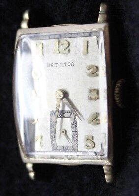 HAMILTON Curved 17j WRISTWATCH  10k GF Model 980 Vintage PARTS REPAIR