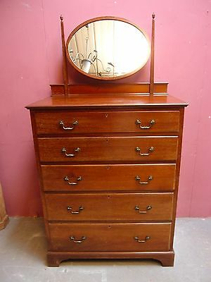 SUPERB ANTIQUE EDWARDIAN MAHOGANY MIRRORED DRESSING TABLE/CHEST of DRAWERS