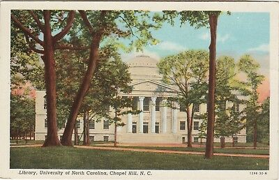 University of North Carolina NC Chapel Hill Library Postcard Linen Teich