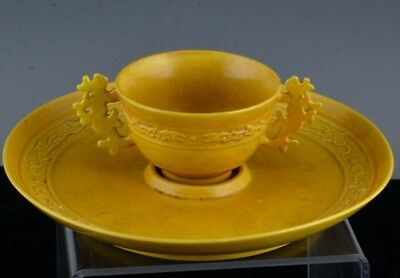 Vry Rare Chinese Imperial Guangxu Mark & Period Yellow Glaze Wine Cup Dish Stand