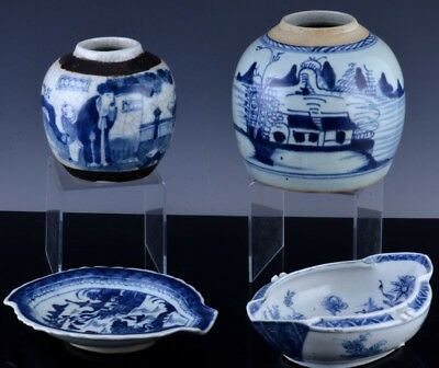 Estate Coll. 18/19Thc Chinese Canton Blue White Jar Vase Sauce Boat Leaf Tray