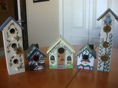 Lot of 5 Decorative Painted Wood Birdhouses 3 World Bazaars Inc./2 Unbranded