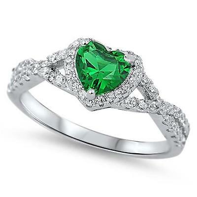 GREEN EMERALD HEART Ladies Genuine 925 STERLING SILVER RING ~ Size 11 12  /  W Y