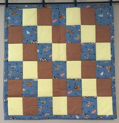 Baby Quilt Lap Throw Baby Boys Animals Pigs Elephants Tiger Cows Handmade NEW