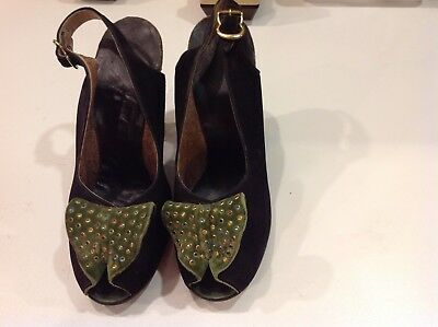 Womans Fantastic Vintage Jeweled Suede Green Heels Shoes