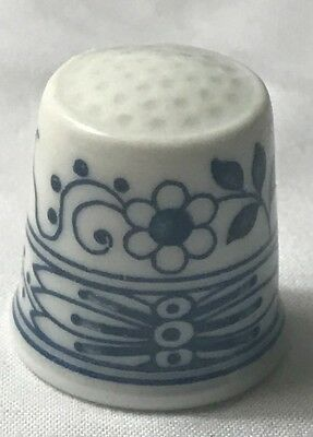 HUTSCHENREUTHER Thimble Germany Blue Onion White Floral