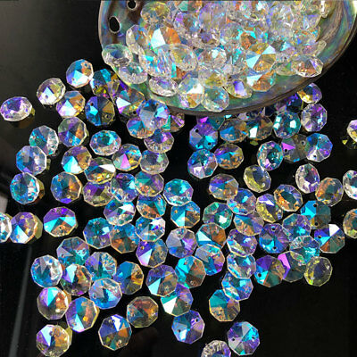 20Pc AB CRYSTAL GLASS OCTAGONAL Spacer BEAD DIY CHANDELIER PART Prism SUNCATCHER