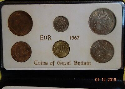 1967 12 Coin Coins Of Great Britain Last Sterling & First Decimal