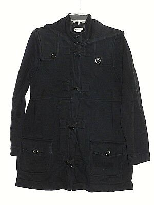 Motherhood Maternity Black Peacoat Jacket   Size Medium  Cottom Blend  Hooded