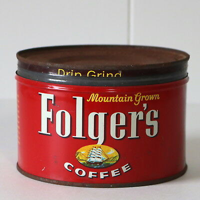 VTG 1 lb Folgers Mountain Grown Coffee Can Tin Drip Grind 1959 Advertising w Lid