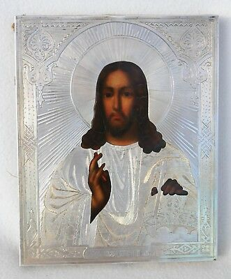 """19c. RUSSIAN IMPERIAL ORTHODOX SILVER 84"""" ICON JESUS CHRIST GOD SILVER GOLD PIN"""
