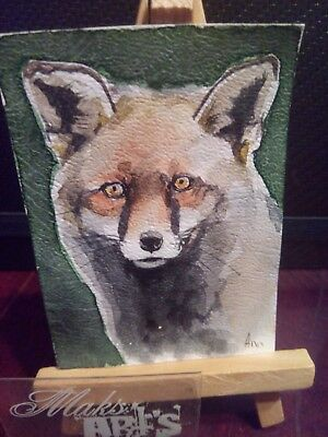 ACEO Original Art Painting Fox dec 10 by Maksimova Anna