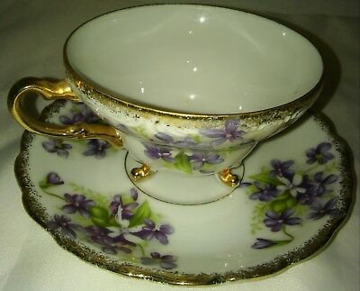 Vintage Fine Bone China Purple Flowers And Gold Trim Cup And Saucer Set