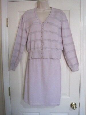 St John Collection By Marie Gray Lilac 2 Piece Skirt Suit Top M Skirt 8
