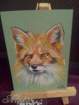ACEO Original Art Painting Fox 11 Jan by Ivanova Tatiana