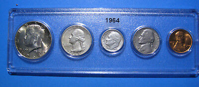 1964 US Coin Year Set 5 Coins 90% Silver