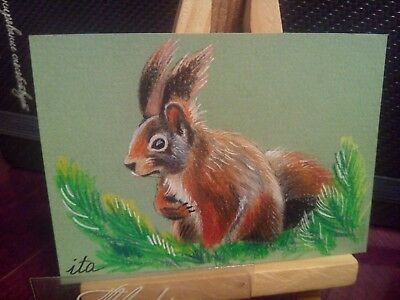 ACEO Original Art Painting Squirrel 1 Jan by Ivanova Tatiana