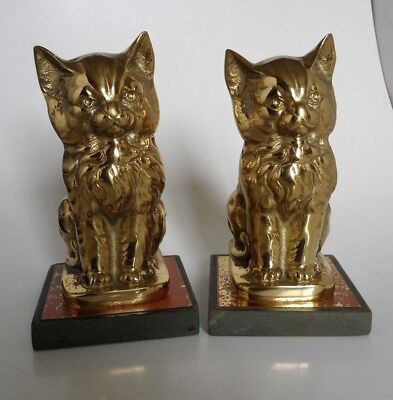 Vintage Cast Brass Cat Bookends with Slate Bases