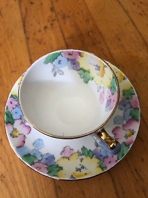 Crown Staffordshire tea cup and saucer Flowered Blue Handle pattern teacup