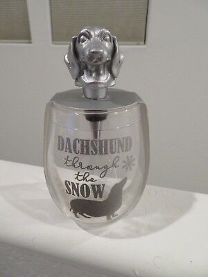 Dachshund Through the Snow Stemless Wine Glass with Bottle Stopper 16oz NEW
