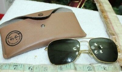 vintage rayban aviator sunglasses 58 16 case 1950s drill instructor b+l