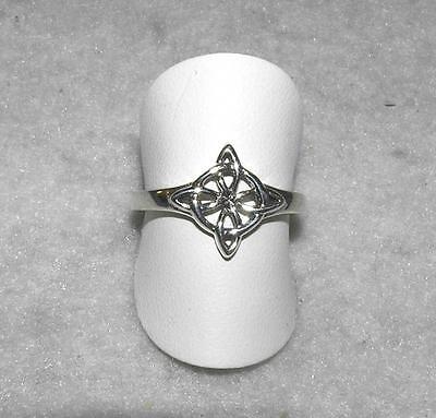 Celtic Knot Four-Cornered Quarternary Entwined Ring Sterling Silver Size 10
