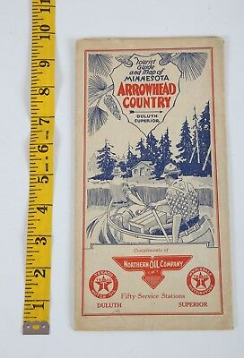 1920s Northern Oil Company Texaco Road Map Arrowhead Minnesota Duluth Superior