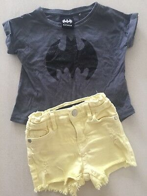 Girls Size 1 Summer Shorts Tee Top Bundle Lot, Cotton On Kids Batman