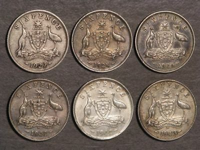 AUSTRALIA 1927-1943 6 Pence Silver - 6 Diff. Coins