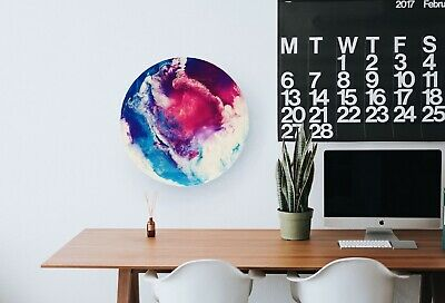 """Acrylic Painting On Canvas Abstract Epoxy Resin 16"""" Gloss Round Wall Decor Art"""