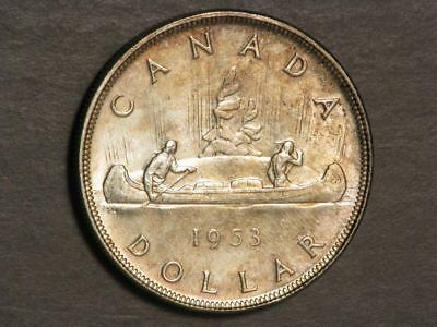 CANADA 1953 1 Dollar Silver Crown BU