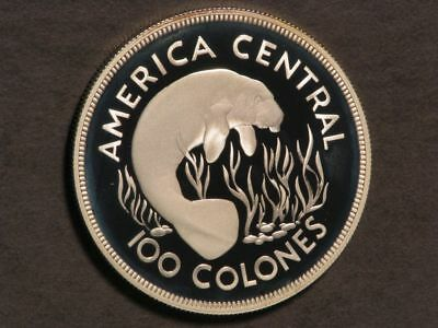 COSTA RICA 1974 100 Colones Manatee Silver Crown Choice Proof