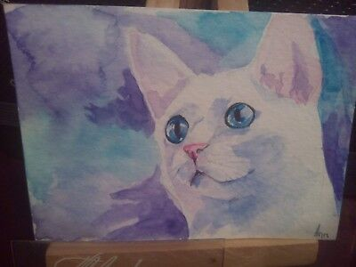ACEO Original Art Painting Cat 16 Jan by Maksimova Anna